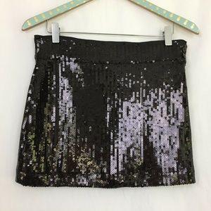 Twenty One Sequin Mini Skirt Medium Black Stretch